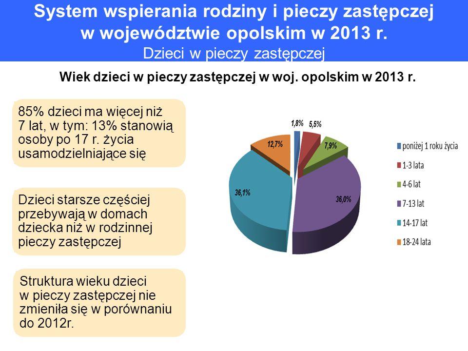 System wspierania rodziny i pieczy zastępczej w województwie opolskim w 2013 r. Dzieci w pieczy zastępczej Wiek dzieci w pieczy zastępczej w woj. opol
