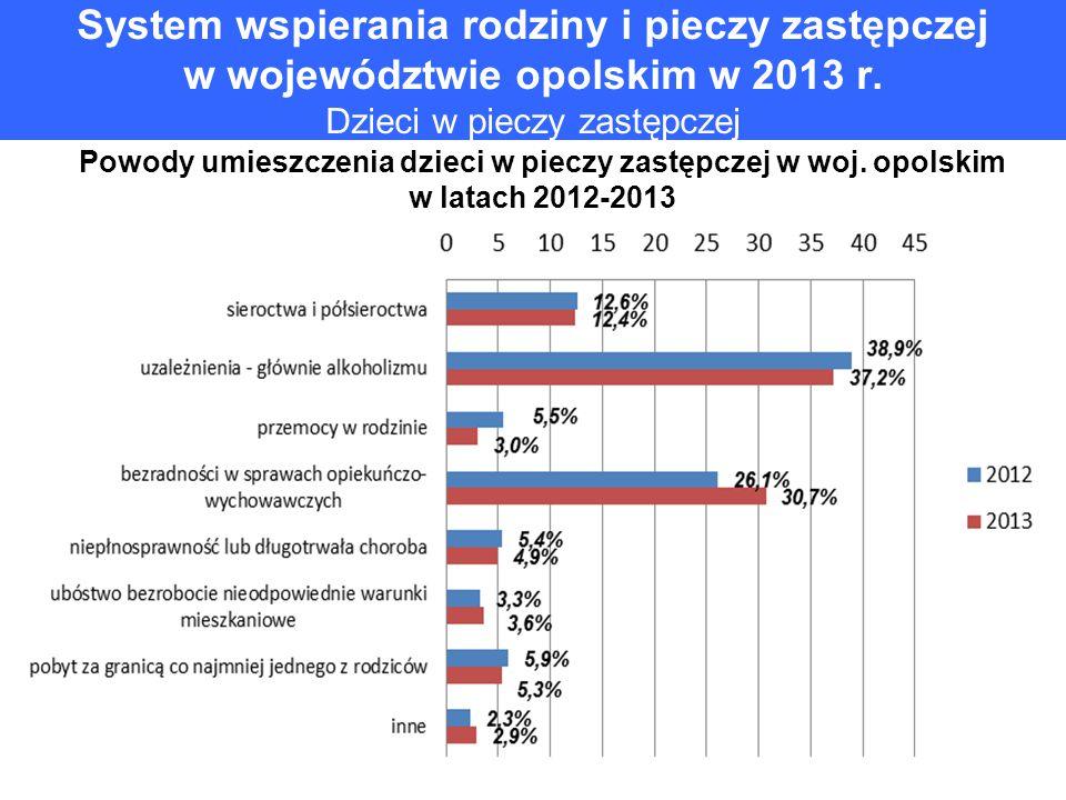 System wspierania rodziny i pieczy zastępczej w województwie opolskim w 2013 r. Dzieci w pieczy zastępczej Powody umieszczenia dzieci w pieczy zastępc