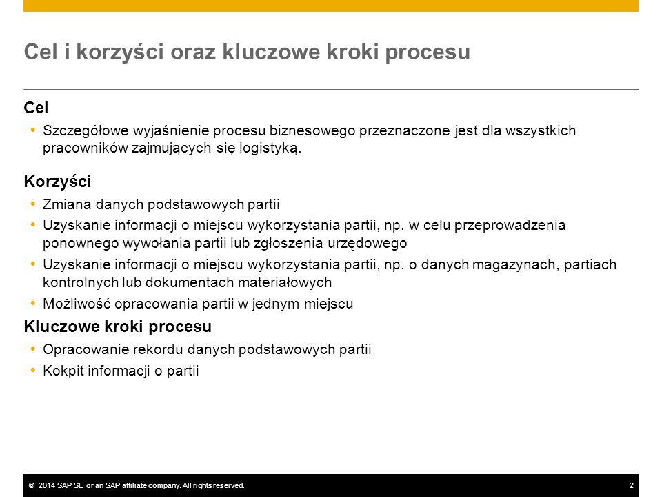 ©2014 SAP SE or an SAP affiliate company. All rights reserved.2 Cel i korzyści oraz kluczowe kroki procesu Cel  Szczegółowe wyjaśnienie procesu bizne