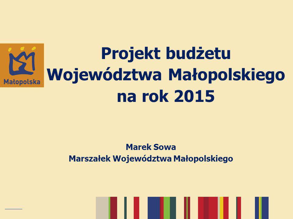 """Budżet 2015 – założenia konstrukcyjne Założenia makroekonomiczne: przewidywana inflacja 1,2% przewidywany wzrost PKB 3,4% Budżet realizuje """"Strategię Rozwoju Województwa Małopolskiego na lata 2011-2020 Przewiduje kontynuację wykorzystania funduszy europejskich (MRPO/PO KL/PROW/PO IiŚ/PO IG/PO PT/PO RYBY) Przewiduje rozpoczęcie wdrażania RPO WM na lata 2014-2020 Zakłada realne planowanie kosztów projektów inwestycyjnych Zakłada dokończenie rozpoczętych inwestycji"""
