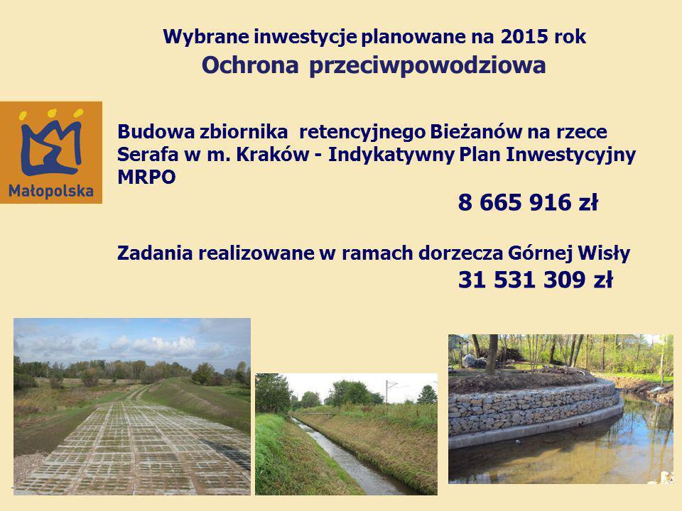 Wybrane inwestycje planowane na 2015 rok Ochrona przeciwpowodziowa Budowa zbiornika retencyjnego Bieżanów na rzece Serafa w m.