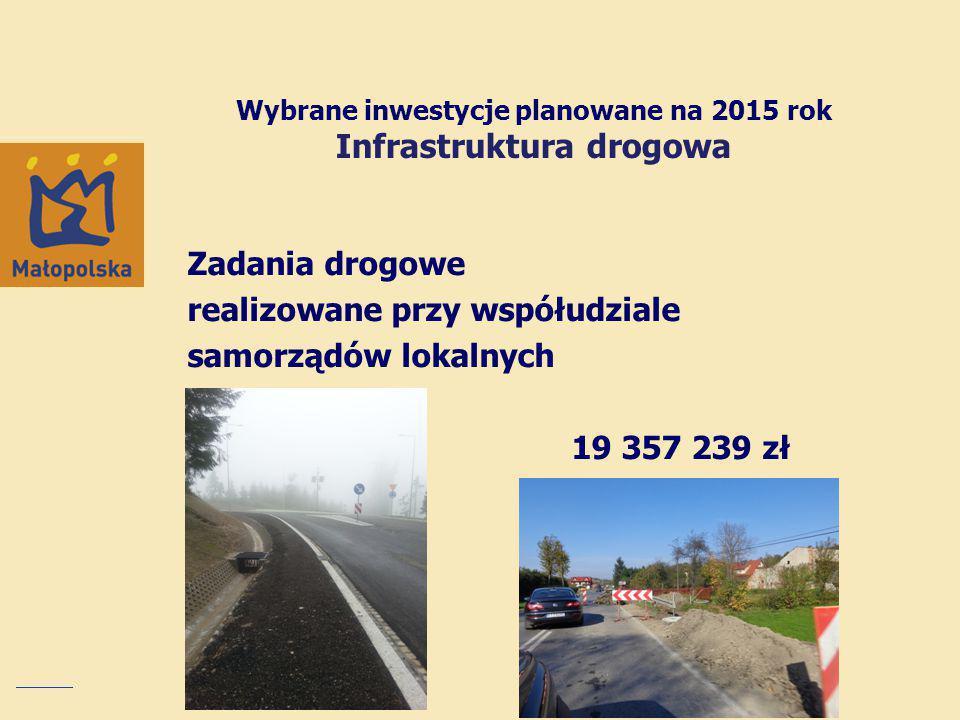 Zadania drogowe realizowane przy współudziale samorządów lokalnych 19 357 239 zł Wybrane inwestycje planowane na 2015 rok Infrastruktura drogowa