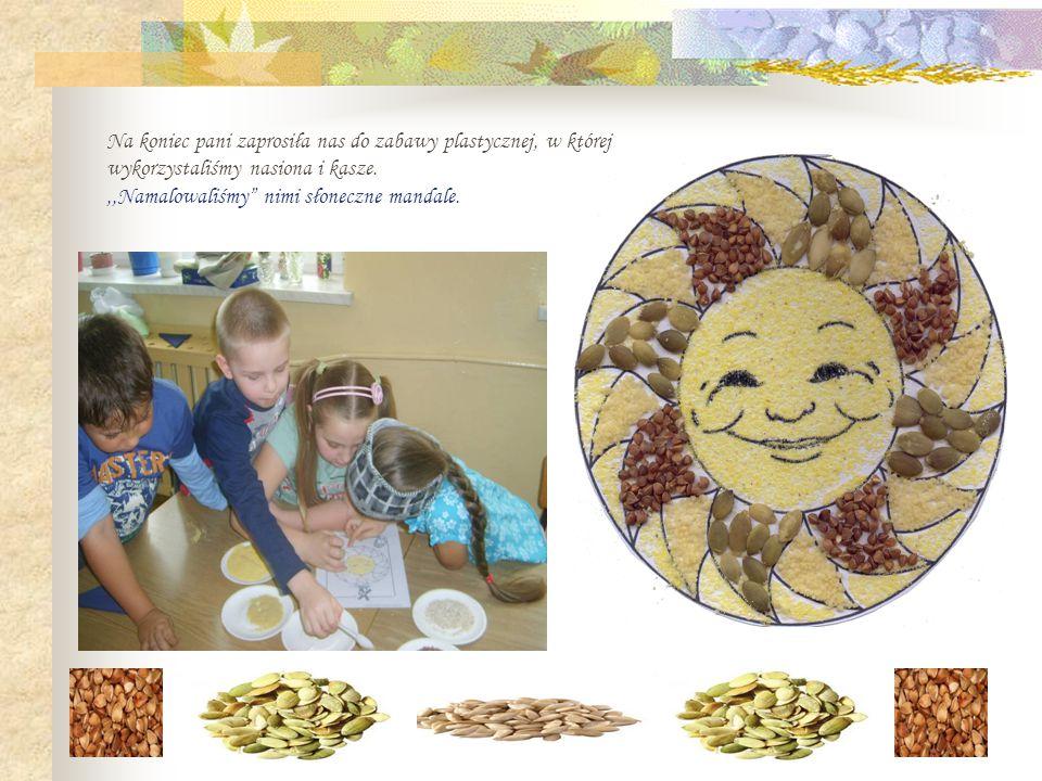 Na koniec pani zaprosiła nas do zabawy plastycznej, w której wykorzystaliśmy nasiona i kasze.,,Namalowaliśmy nimi słoneczne mandale.