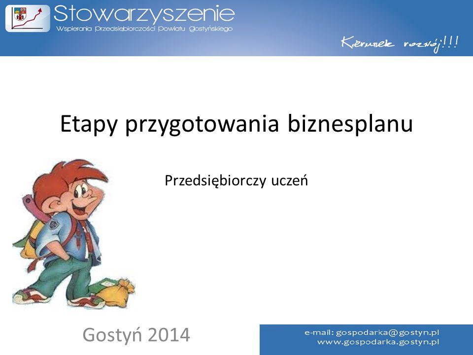 Etapy przygotowania biznesplanu Przedsiębiorczy uczeń Gostyń 2014
