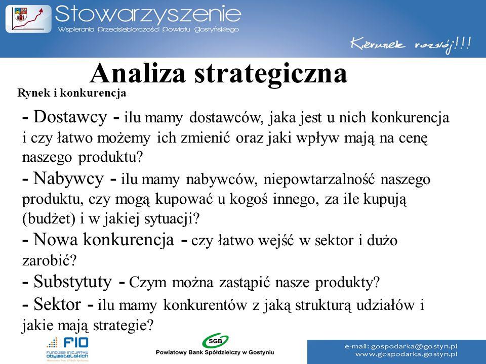 Analiza strategiczna - Dostawcy - ilu mamy dostawców, jaka jest u nich konkurencja i czy łatwo możemy ich zmienić oraz jaki wpływ mają na cenę naszego