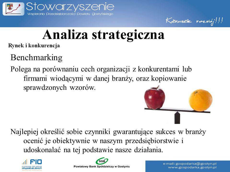 Analiza strategiczna Benchmarking Polega na porównaniu cech organizacji z konkurentami lub firmami wiodącymi w danej branży, oraz kopiowanie sprawdzon