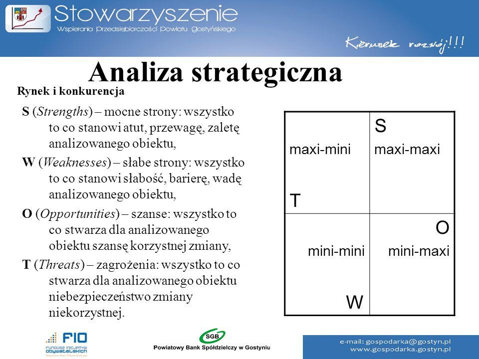 Analiza strategiczna S (Strengths) – mocne strony: wszystko to co stanowi atut, przewagę, zaletę analizowanego obiektu, W (Weaknesses) – słabe strony: