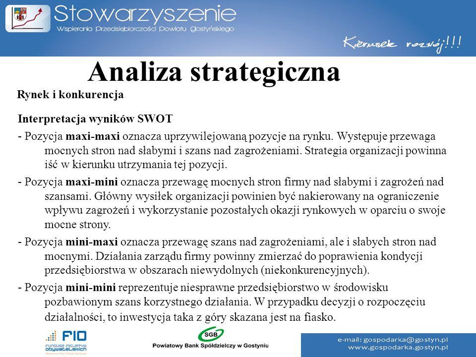 Analiza strategiczna Interpretacja wyników SWOT - Pozycja maxi-maxi oznacza uprzywilejowaną pozycje na rynku. Występuje przewaga mocnych stron nad sła