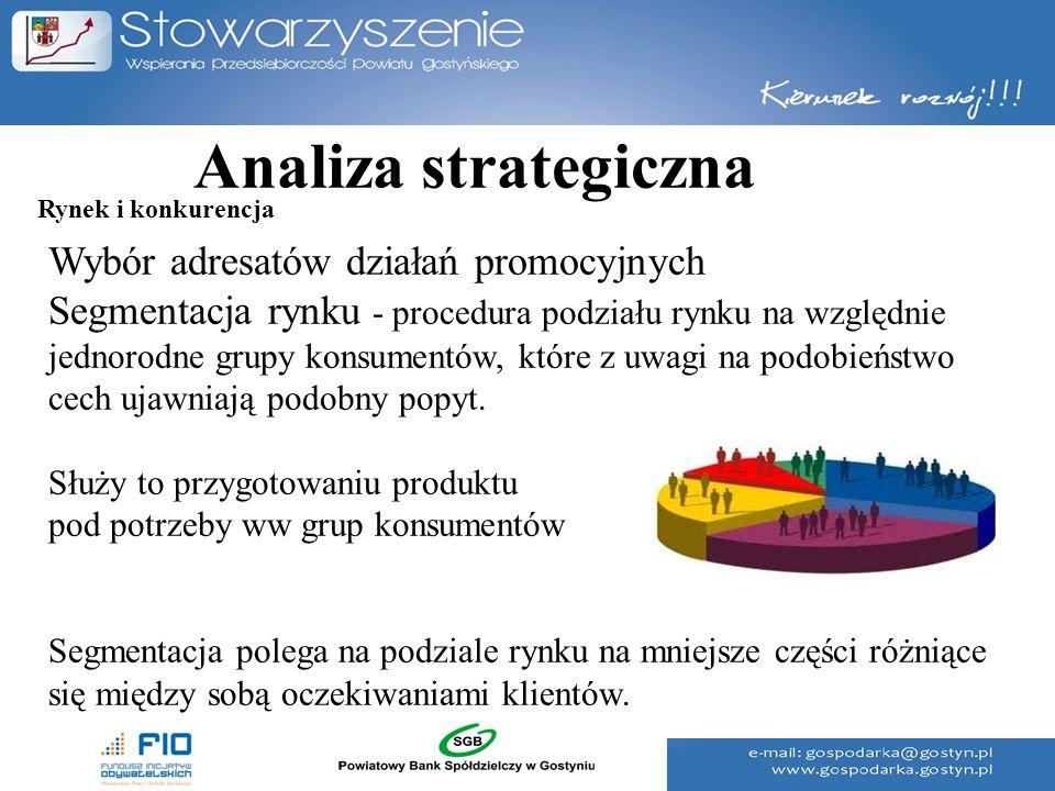 Analiza strategiczna Wybór adresatów działań promocyjnych Segmentacja rynku - procedura podziału rynku na względnie jednorodne grupy konsumentów, któr