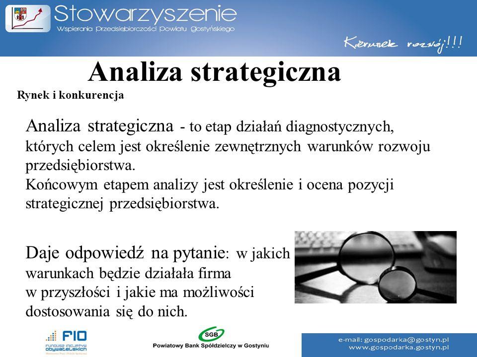 Analiza strategiczna Analiza strategiczna - to etap działań diagnostycznych, których celem jest określenie zewnętrznych warunków rozwoju przedsiębiors