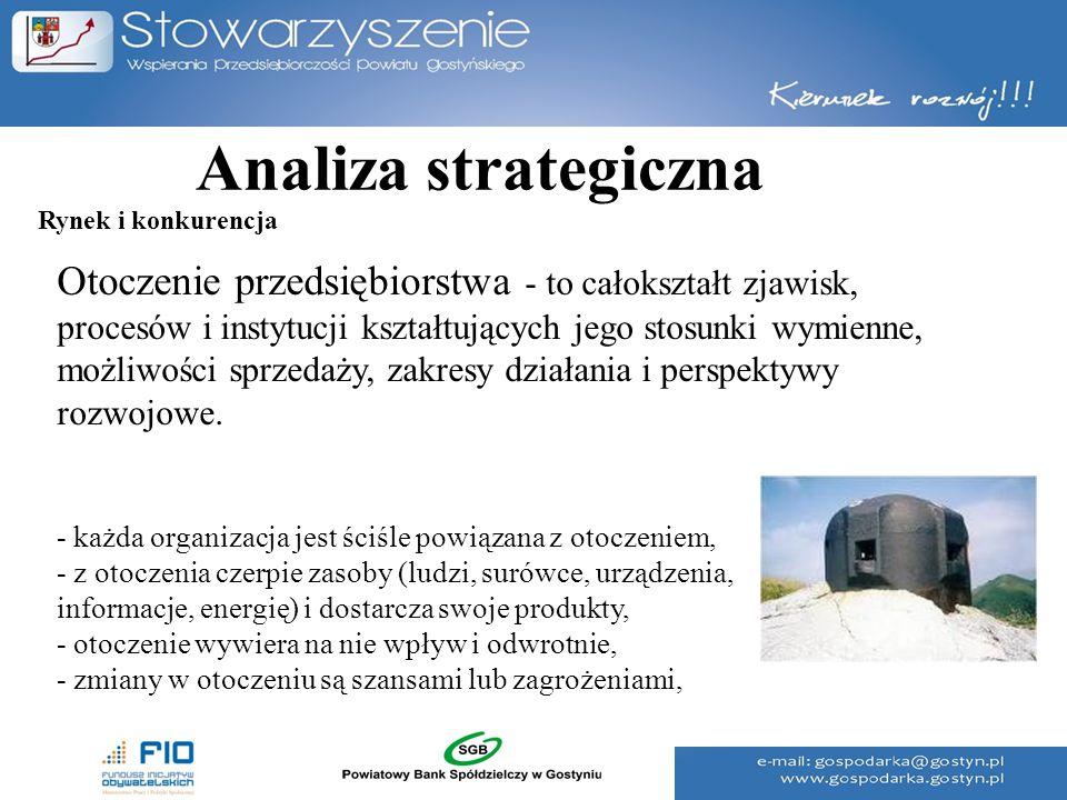 Analiza strategiczna Otoczenie przedsiębiorstwa - to całokształt zjawisk, procesów i instytucji kształtujących jego stosunki wymienne, możliwości sprz