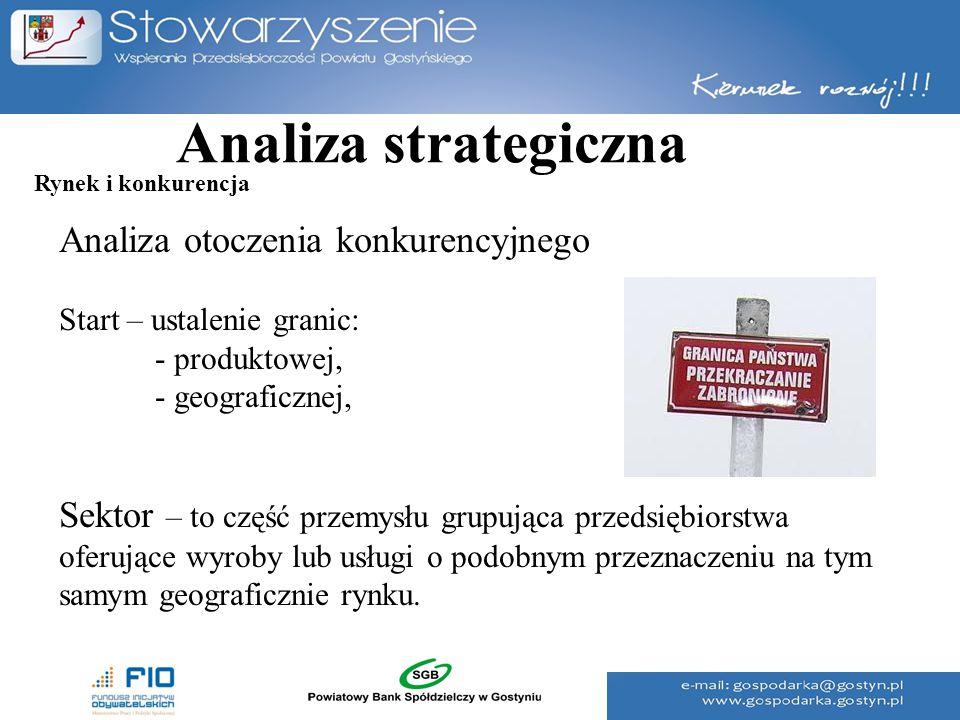 Analiza strategiczna Analiza otoczenia konkurencyjnego Start – ustalenie granic: - produktowej, - geograficznej, Sektor – to część przemysłu grupująca