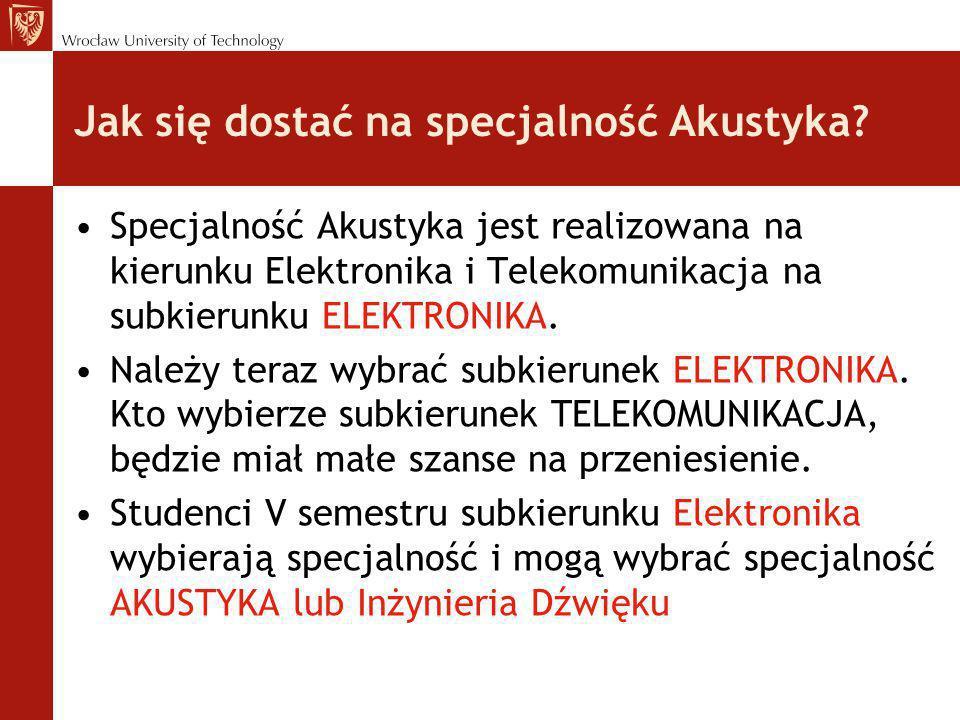 Jak się dostać na specjalność Akustyka? Specjalność Akustyka jest realizowana na kierunku Elektronika i Telekomunikacja na subkierunku ELEKTRONIKA. Na