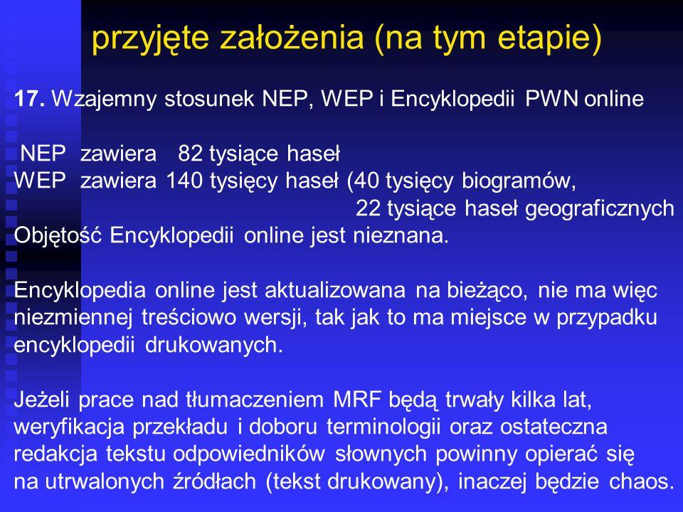 przyjęte założenia (na tym etapie) 17. Wzajemny stosunek NEP, WEP i Encyklopedii PWN online NEP zawiera 82 tysiące haseł WEP zawiera 140 tysięcy haseł