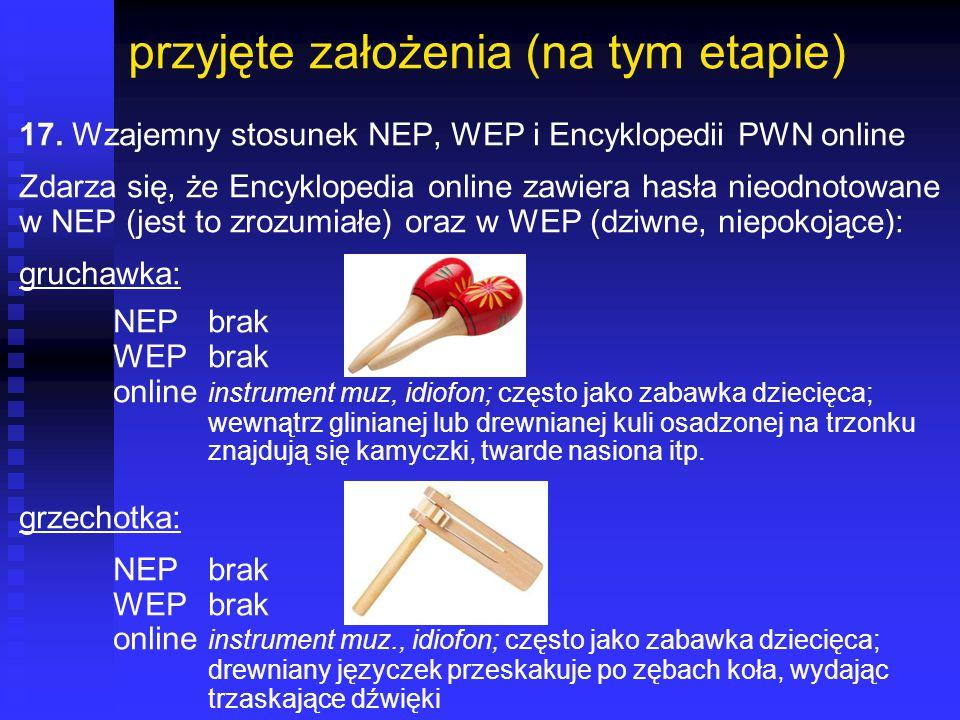 przyjęte założenia (na tym etapie) 17. Wzajemny stosunek NEP, WEP i Encyklopedii PWN online Zdarza się, że Encyklopedia online zawiera hasła nieodnoto