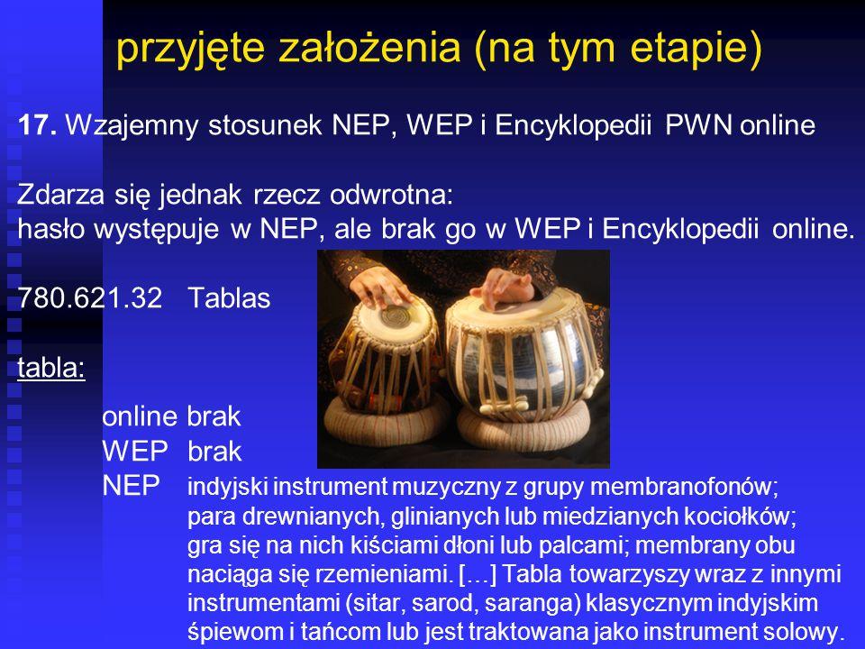 przyjęte założenia (na tym etapie) 17. Wzajemny stosunek NEP, WEP i Encyklopedii PWN online Zdarza się jednak rzecz odwrotna: hasło występuje w NEP, a