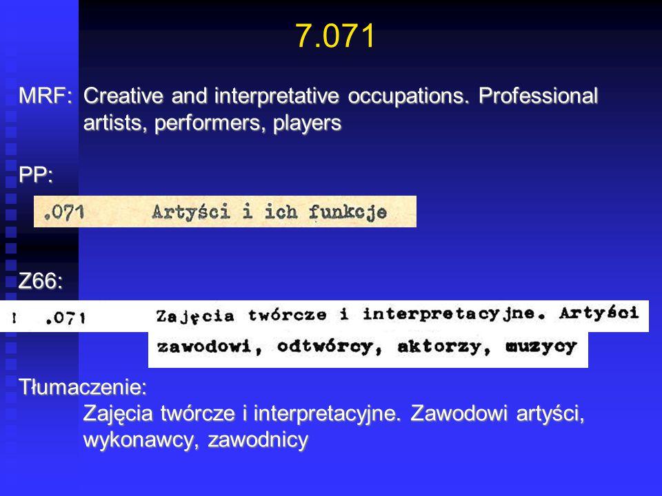 7.071 MRF:Creative and interpretative occupations. Professional artists, performers, players PP:Z66:Tłumaczenie: Zajęcia twórcze i interpretacyjne. Za