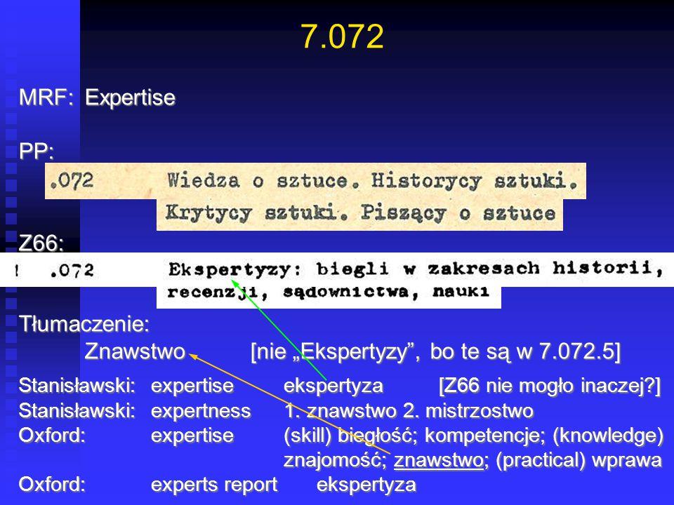 """7.072 MRF:Expertise PP:Z66:Tłumaczenie: Znawstwo[nie """"Ekspertyzy"""", bo te są w 7.072.5] Stanisławski:expertise ekspertyza [Z66 nie mogło inaczej?] Stan"""