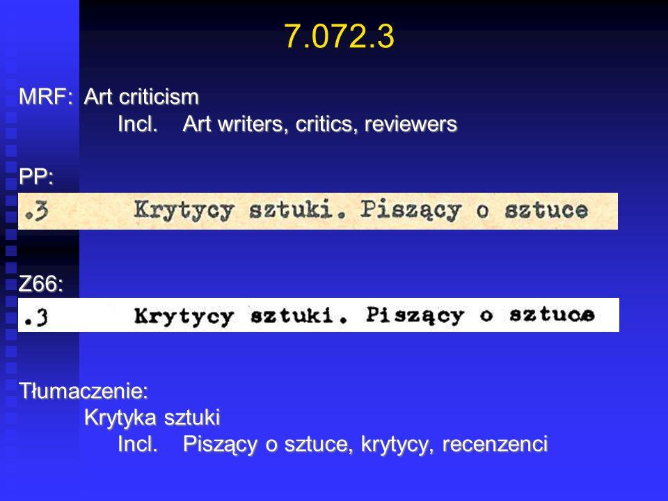 7.072.3 MRF:Art criticism Incl.Art writers, critics, reviewers Incl.Art writers, critics, reviewersPP:Z66:Tłumaczenie: Krytyka sztuki Incl.Piszący o s