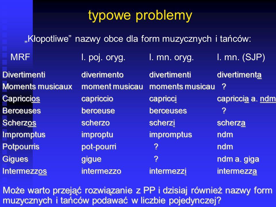 """typowe problemy """"Kłopotliwe"""" nazwy obce dla form muzycznych i tańców: MRFl. poj. oryg.l. mn. oryg.l. mn. (SJP) Divertimentidiverimentodivertimentidive"""