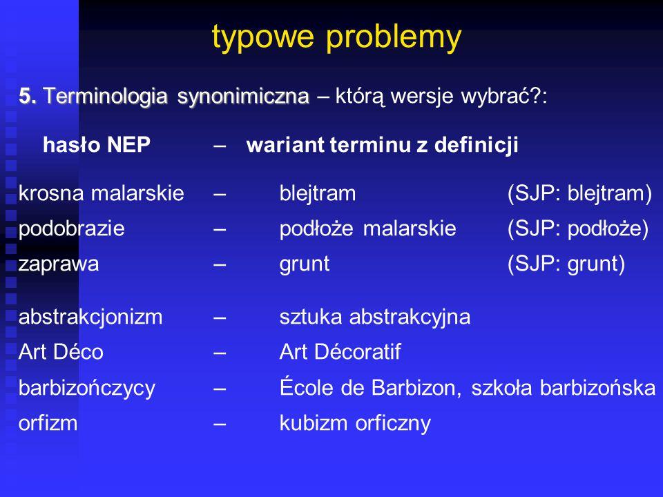 typowe problemy 5. Terminologia synonimiczna 5. Terminologia synonimiczna – którą wersje wybrać?: hasło NEP– wariant terminu z definicji krosna malars