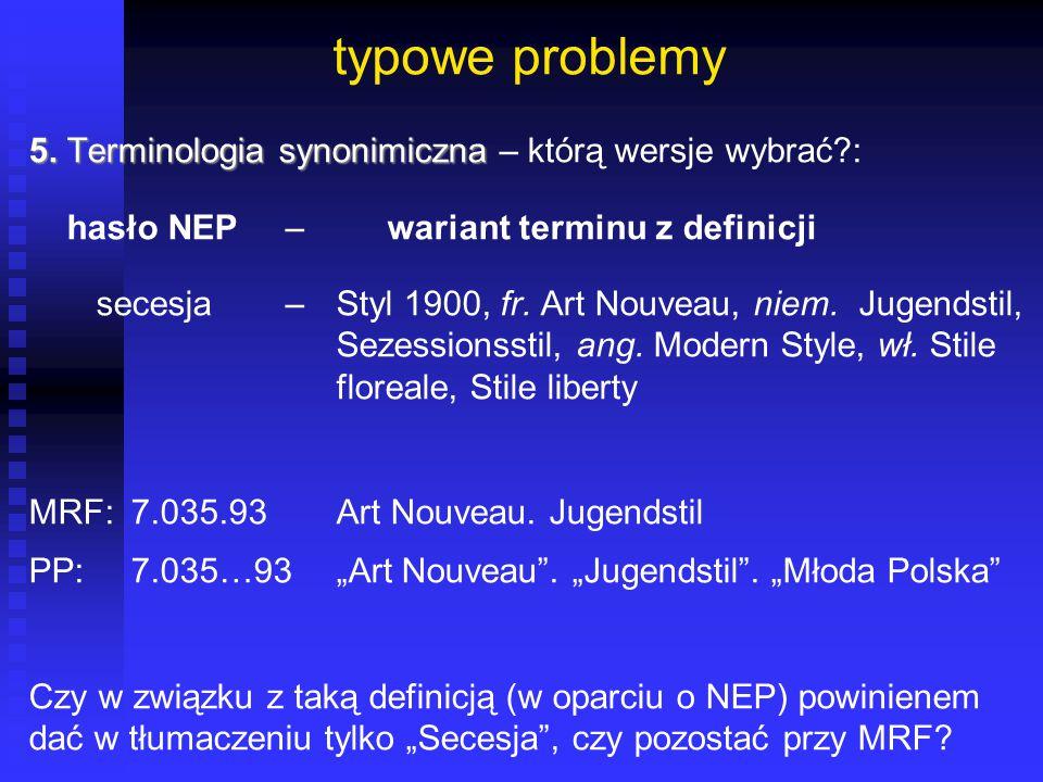 typowe problemy 5. Terminologia synonimiczna 5. Terminologia synonimiczna – którą wersje wybrać?: hasło NEP– wariant terminu z definicji secesja– Styl