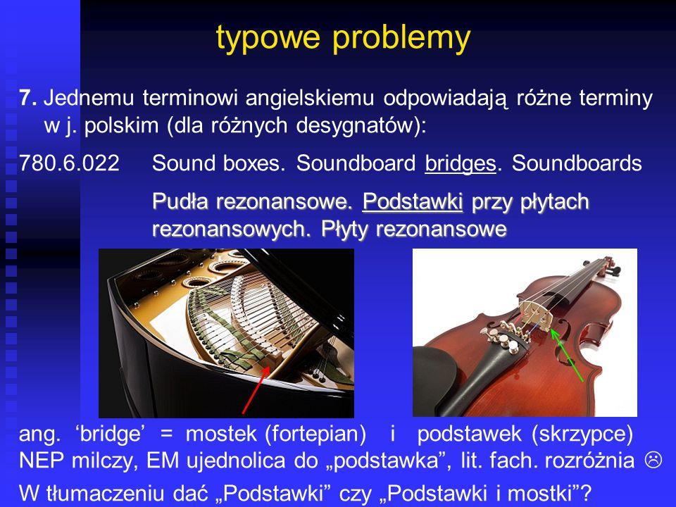 typowe problemy 7. Jednemu terminowi angielskiemu odpowiadają różne terminy w j. polskim (dla różnych desygnatów): 780.6.022Sound boxes. Soundboard br