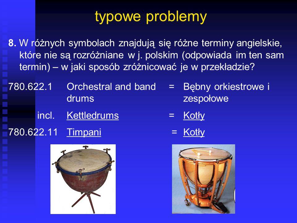 typowe problemy 8. W różnych symbolach znajdują się różne terminy angielskie, które nie są rozróżniane w j. polskim (odpowiada im ten sam termin) – w