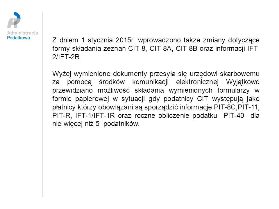 Z dniem 1 stycznia 2015r. wprowadzono także zmiany dotyczące formy składania zeznań CIT-8, CIT-8A, CIT-8B oraz informacji IFT- 2/IFT-2R. Wyżej wymieni