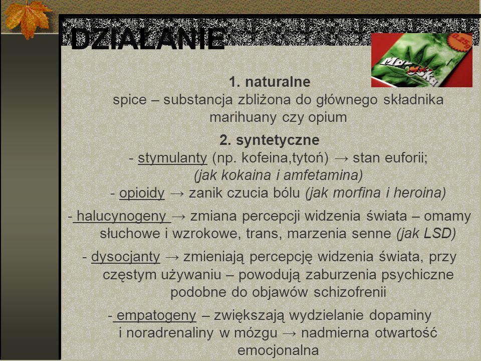 DZIAŁANIE 1.naturalne spice – substancja zbliżona do głównego składnika marihuany czy opium 2.