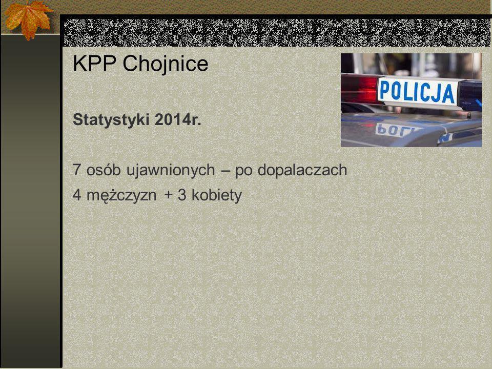 KPP Chojnice Statystyki 2014r. 7 osób ujawnionych – po dopalaczach 4 mężczyzn + 3 kobiety