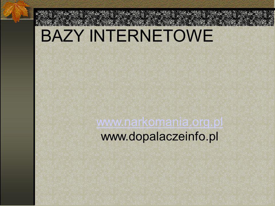 BAZY INTERNETOWE www.narkomania.org.pl www.narkomania.org.pl www.dopalaczeinfo.pl
