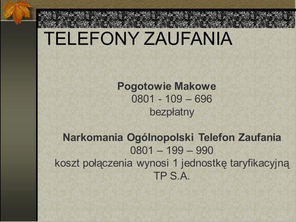 TELEFONY ZAUFANIA Pogotowie Makowe 0801 - 109 – 696 bezpłatny Narkomania Ogólnopolski Telefon Zaufania 0801 – 199 – 990 koszt połączenia wynosi 1 jednostkę taryfikacyjną TP S.A.
