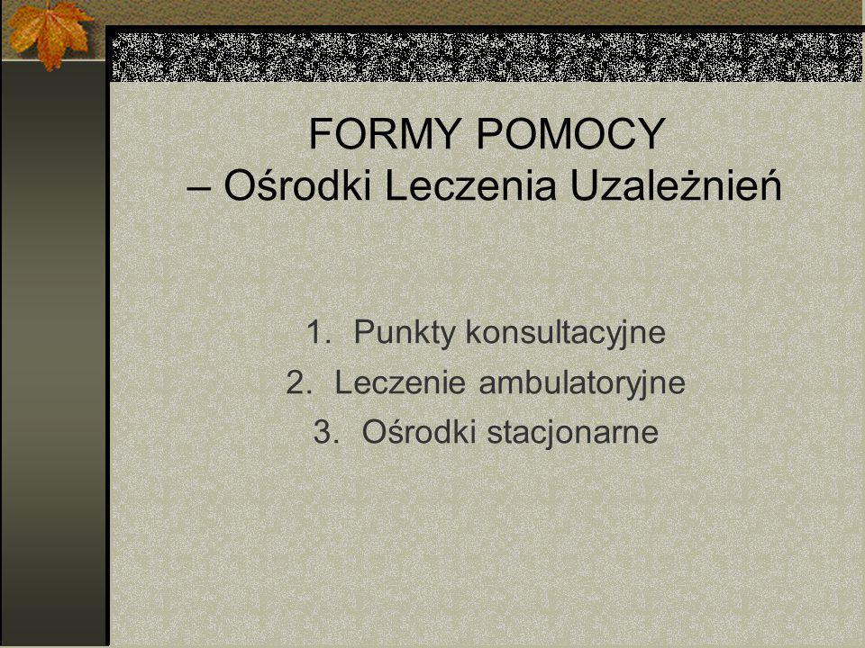 FORMY POMOCY – Ośrodki Leczenia Uzależnień 1.Punkty konsultacyjne 2.Leczenie ambulatoryjne 3.Ośrodki stacjonarne
