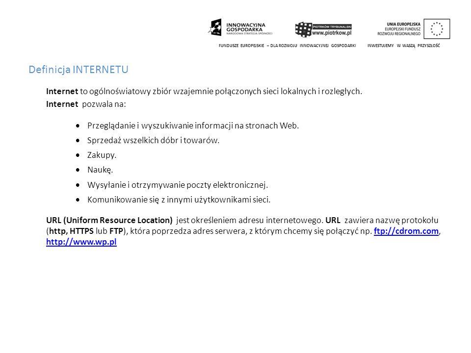 Przeglądarki internetowe Okno Przeglądarki Internet Explorer.