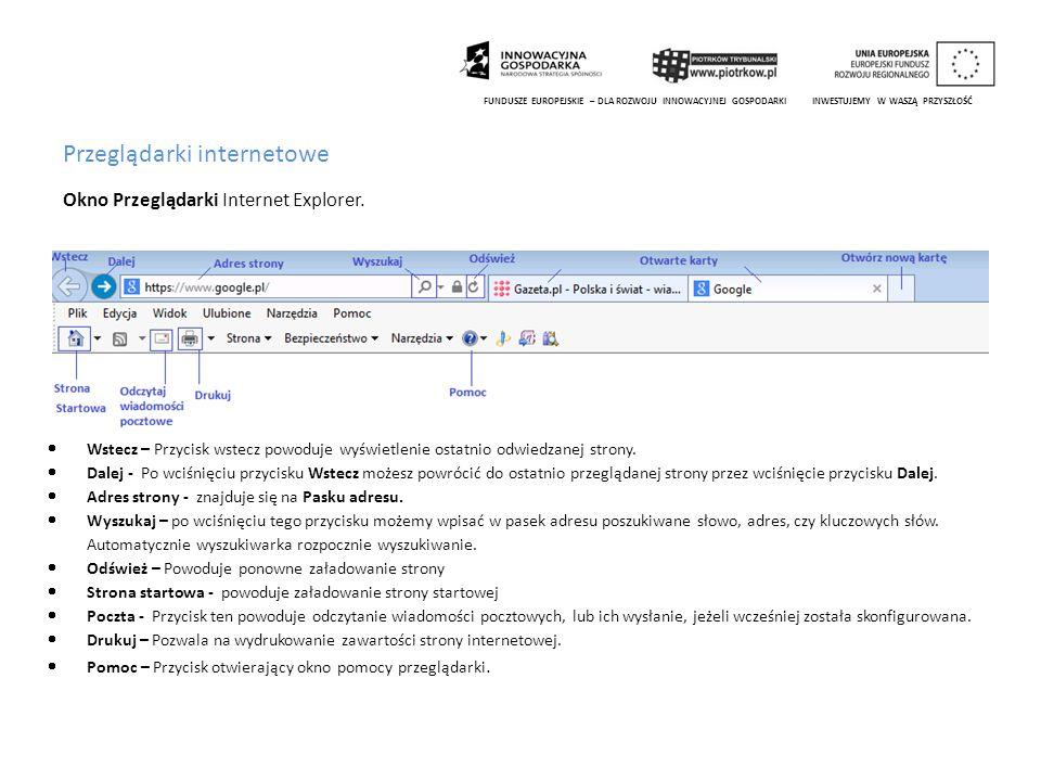 Przeglądarki internetowe Okno Przeglądarki Internet Explorer. FUNDUSZE EUROPEJSKIE – DLA ROZWOJU INNOWACYJNEJ GOSPODARKI INWESTUJEMY W WASZĄ PRZYSZŁOŚ