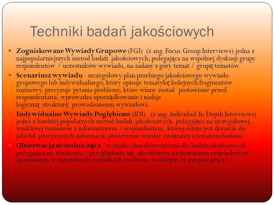Techniki badań jakościowych Zogniskowane Wywiady Grupowe (FGI) (z ang.