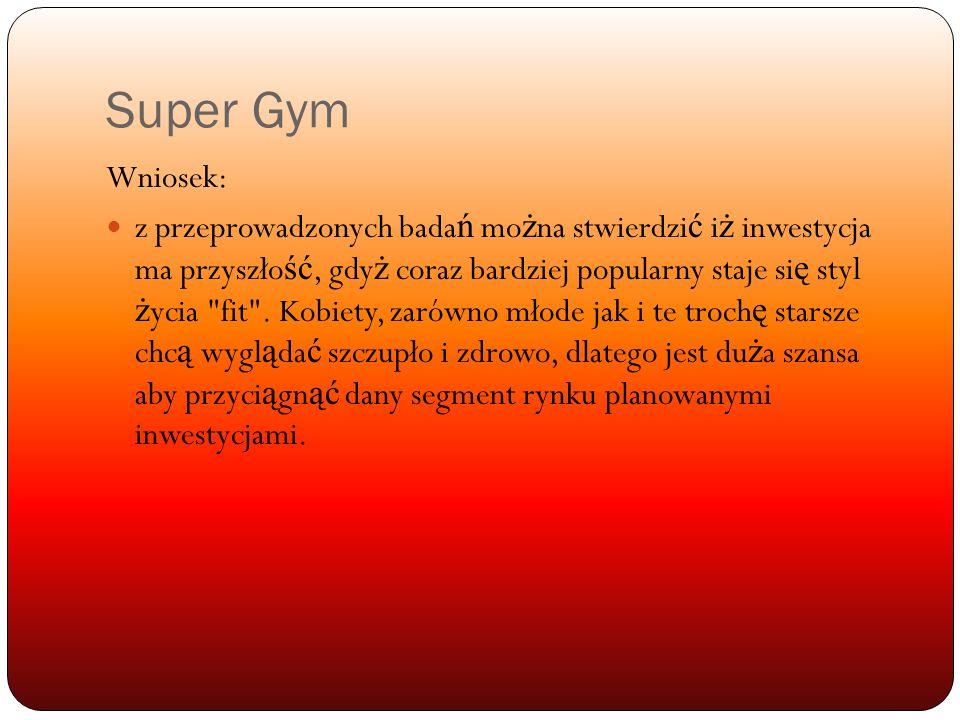 Super Gym Wniosek: z przeprowadzonych bada ń mo ż na stwierdzi ć i ż inwestycja ma przyszło ść, gdy ż coraz bardziej popularny staje si ę styl ż ycia fit .