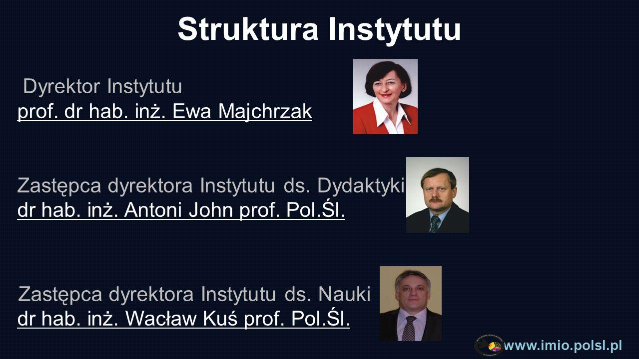 www.imio.polsl.pl Struktura Instytutu Zakład Mechaniki Komputerowej i Informatyki Stosowanej Skład osobowy: Kierownik zakładu dr hab.