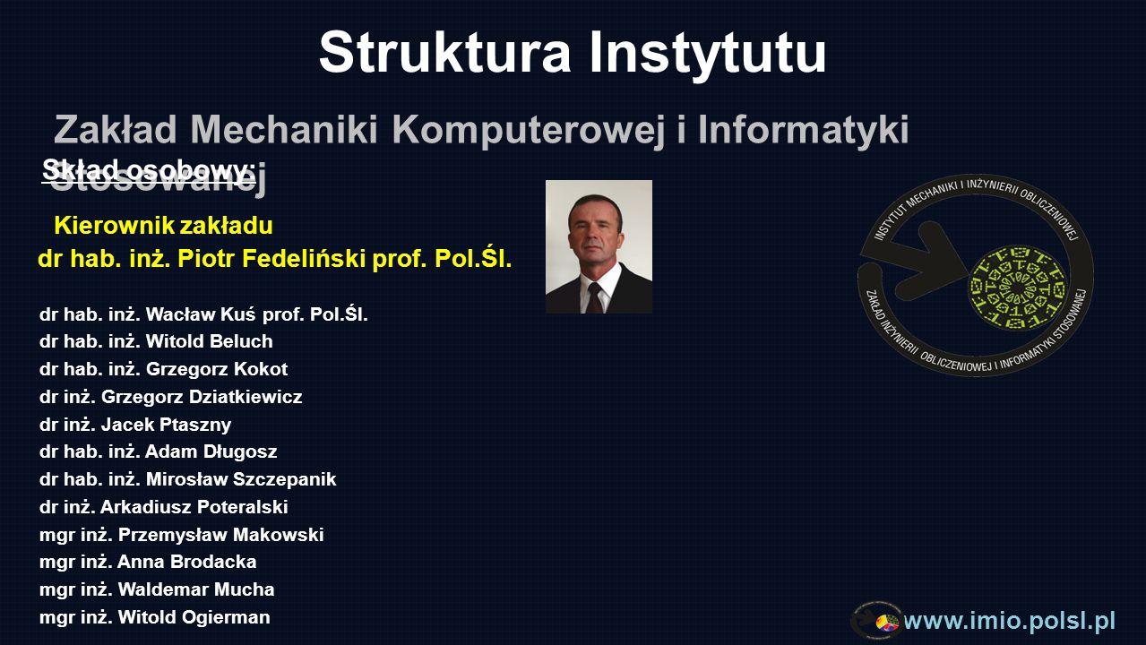 www.imio.polsl.pl Struktura Instytutu Zakład Inżynierii Cieplnej i Biomedycznej Skład osobowy: Kierownik zakładu dr hab.
