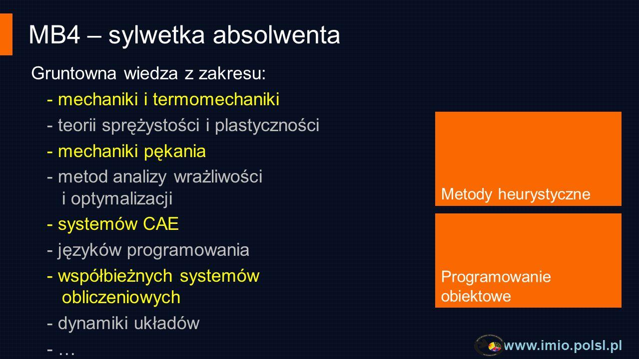www.imio.polsl.pl MB4 – sylwetka absolwenta Specjalność ma charakter interdyscyplinarny, a jej absolwenci otrzymują głęboką wiedzę z zakresu metod informatycznych i komputerowych w analizie i projektowaniu maszyn i urządzeń.
