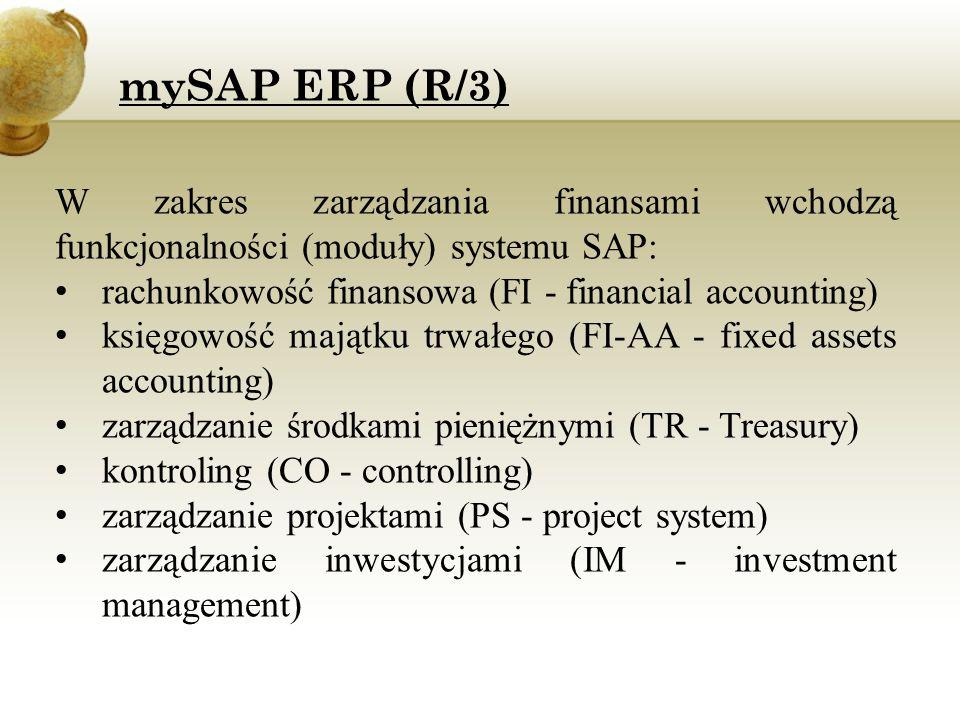 W zakres zarządzania finansami wchodzą funkcjonalności (moduły) systemu SAP: rachunkowość finansowa (FI - financial accounting) księgowość majątku trw
