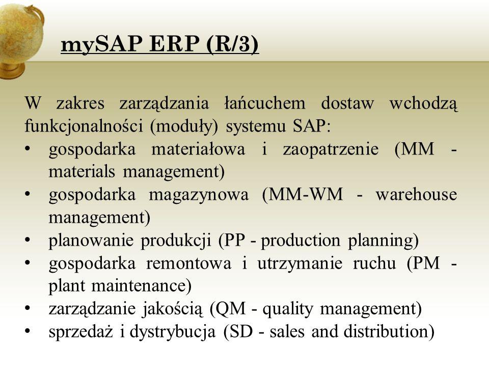 W zakres zarządzania łańcuchem dostaw wchodzą funkcjonalności (moduły) systemu SAP: gospodarka materiałowa i zaopatrzenie (MM - materials management)