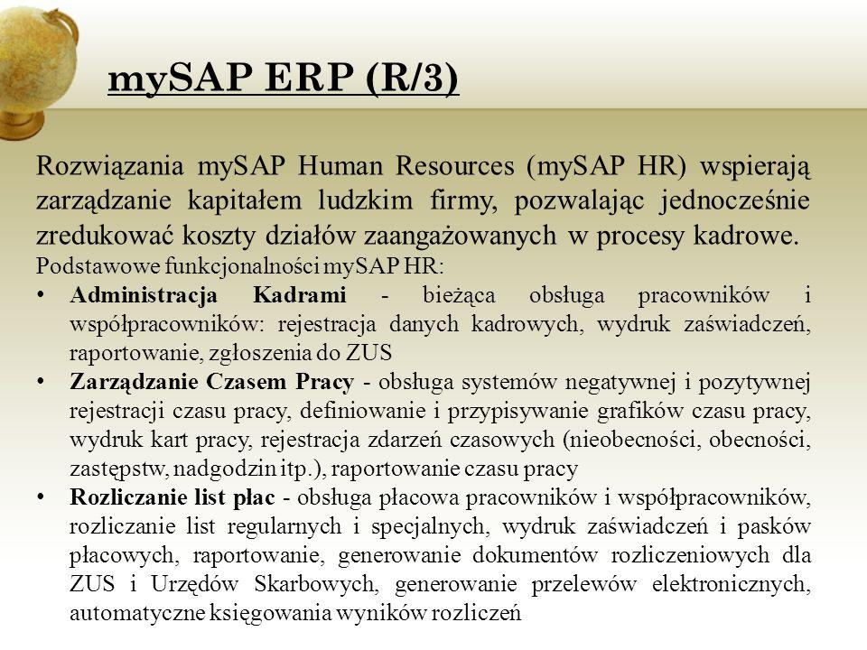 Rozwiązania mySAP Human Resources (mySAP HR) wspierają zarządzanie kapitałem ludzkim firmy, pozwalając jednocześnie zredukować koszty działów zaangażo
