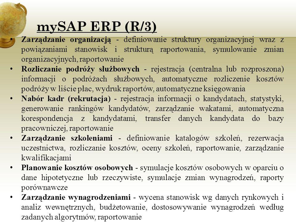 Rozwój pracowników - zarządzanie kwalifikacjami pracowników, zarządzanie ścieżkami karier, raportowanie Oceny pracownicze - definiowanie systemów ocen, rejestracja ocen i ich powiązanie z systemami premiowymi, raportowanie Pulpit menedżera - udostępnienie kierownikom wybranych funkcji kadrowo-płacowych (dostępny pełen zakres), raportowanie informacji o podległych pracownikach, planowanie kosztów i zarządzanie wynagrodzeniami, analiza czasu pracy itp.