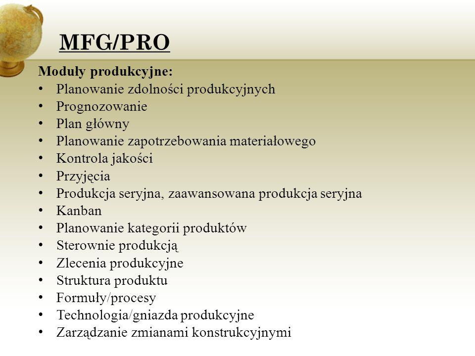 Moduły produkcyjne: Planowanie zdolności produkcyjnych Prognozowanie Plan główny Planowanie zapotrzebowania materiałowego Kontrola jakości Przyjęcia P