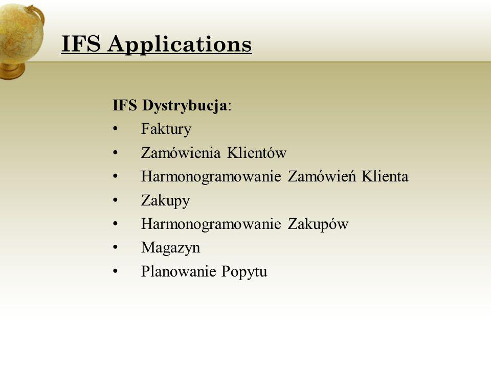 IFS Dystrybucja: Faktury Zamówienia Klientów Harmonogramowanie Zamówień Klienta Zakupy Harmonogramowanie Zakupów Magazyn Planowanie Popytu IFS Applica