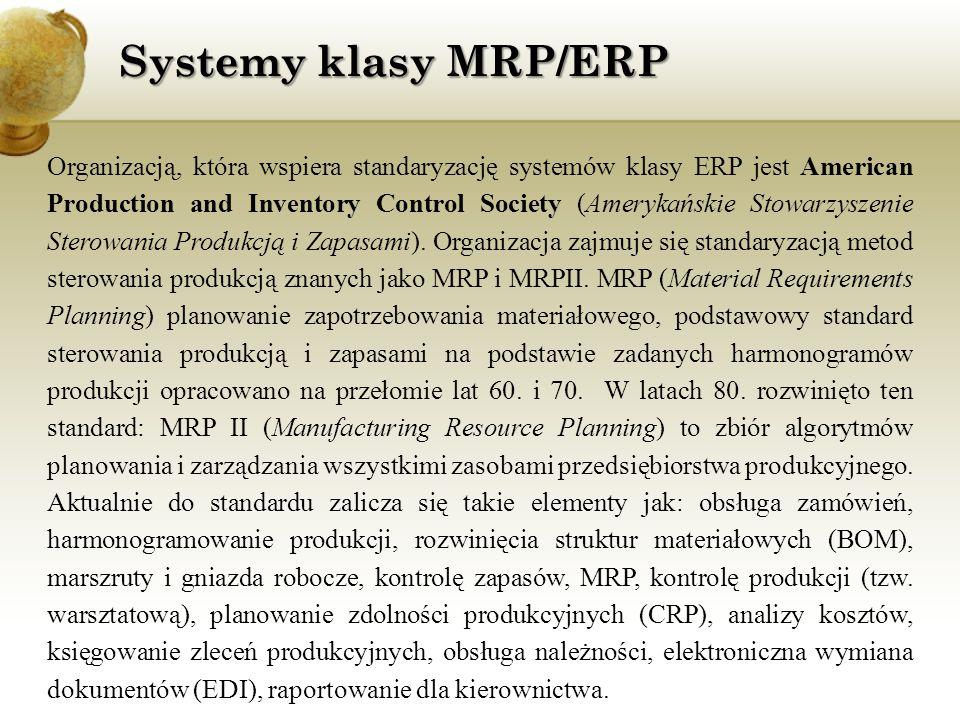 Do najpopularniejszych obecnie producentów systemów ERP należą m.in.: SAP R/3, Baan IV, SSA Global, Scala, JD Edwards, TETA_2000, MFG/PRO, KAMELEON, IFS oraz CDN.