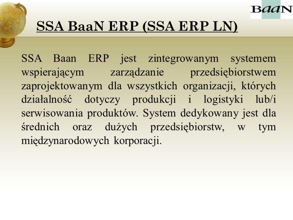 SSA Baan ERP jest zintegrowanym systemem wspierającym zarządzanie przedsiębiorstwem zaprojektowanym dla wszystkich organizacji, których działalność do