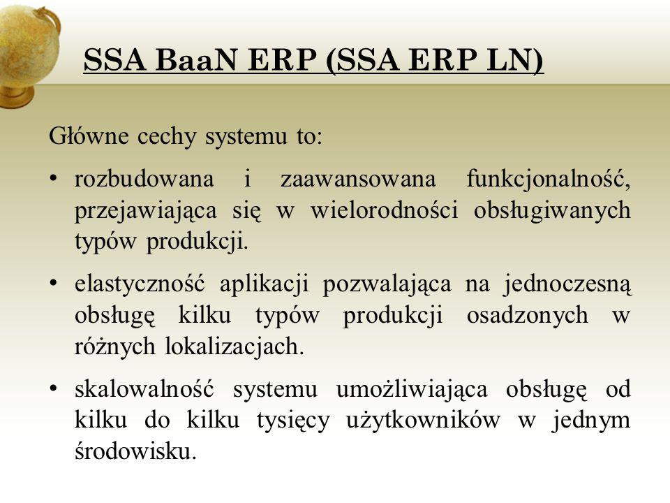 SSA BaaN ERP (SSA ERP LN) SSA Baan oferuje zaawansowaną funkcjonalność w zakresie: Produkcji dyskretnej, seryjnej etc.